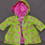 Manteau ciré vert pois rose